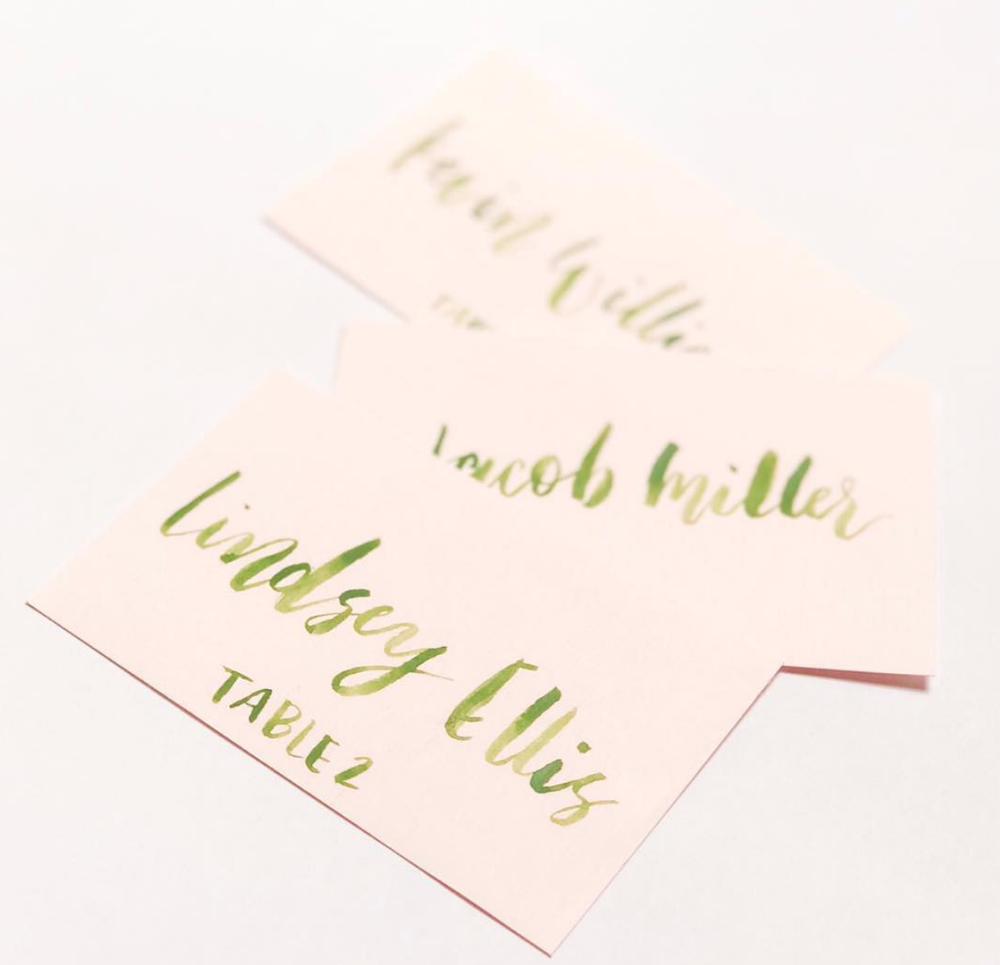 Image of Watercolor brush calligraphy place cards/ escort cards