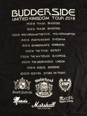 Image of BUDDERSIDE UK TOUR T SHIRT