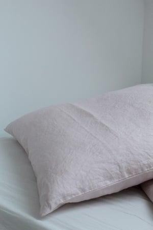 Image of Taie oreiller en lin rose tendre (TOLINROSE)