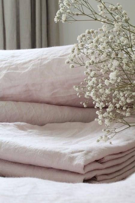 Image of Taie oreiller en lin rose tendre