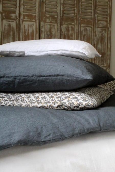 Image of Taie d'oreiller en lin gris