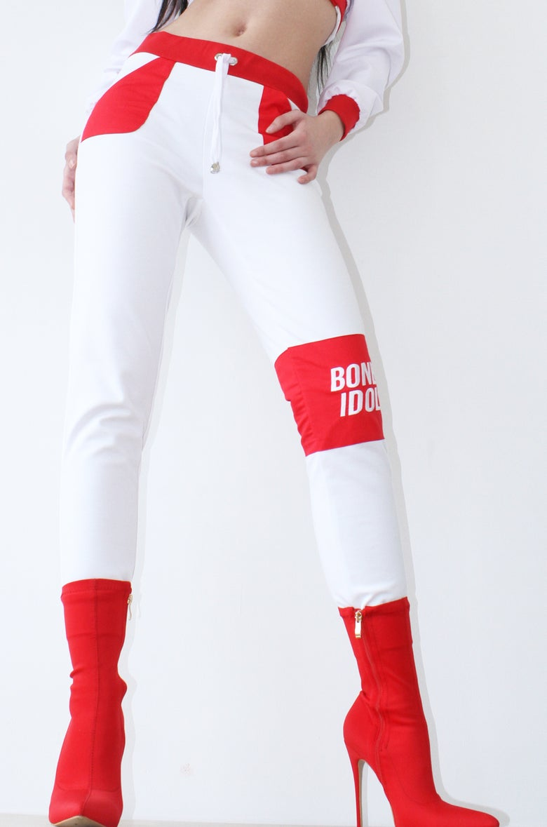 Image of RED N WHITE FITTED TRACKPANTS BY BONE IDOL *PRE ORDER*