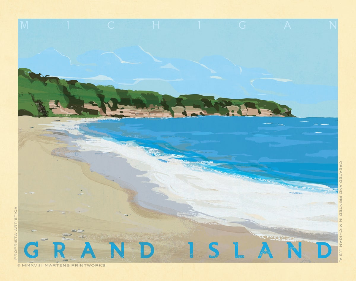 Image of Grand Island (Part of the Great Lakes Island Series) 11x14 Print No. [077]
