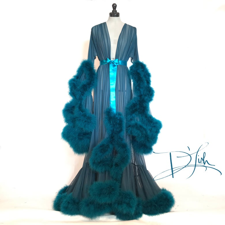 "Image of Deluxe Teal ""Cassandra"" Dressing Gown"