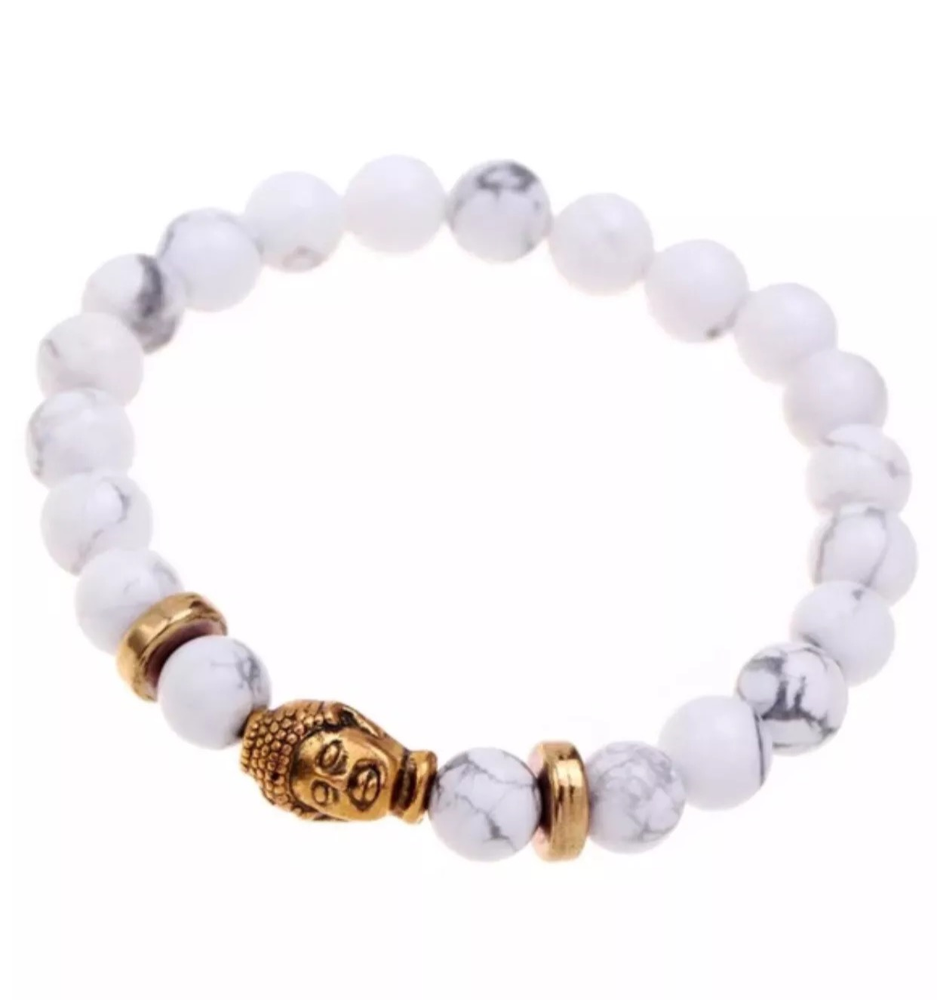 Image of BEAUTIFUL WHITE MARBLE BUDDHA BRACLEET