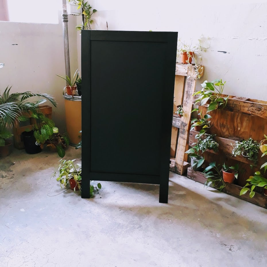 Tall and Heavy Double Sided Standing Chalkboard with Black Broad Frame