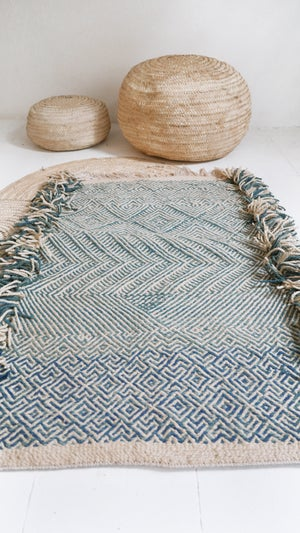 Image of Moroccan Small Kilim Rug - Geometric Pattern Flatweave Blue