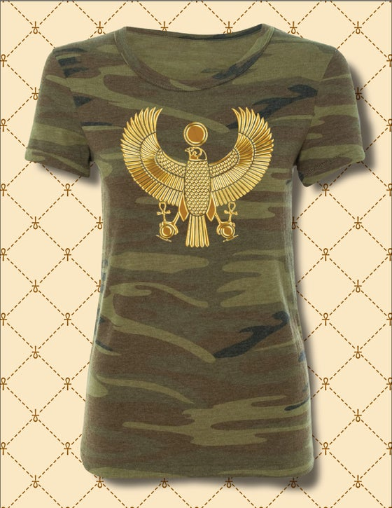 Image of WOMENS GOLD HRU CAMO PRINT TSHIRT