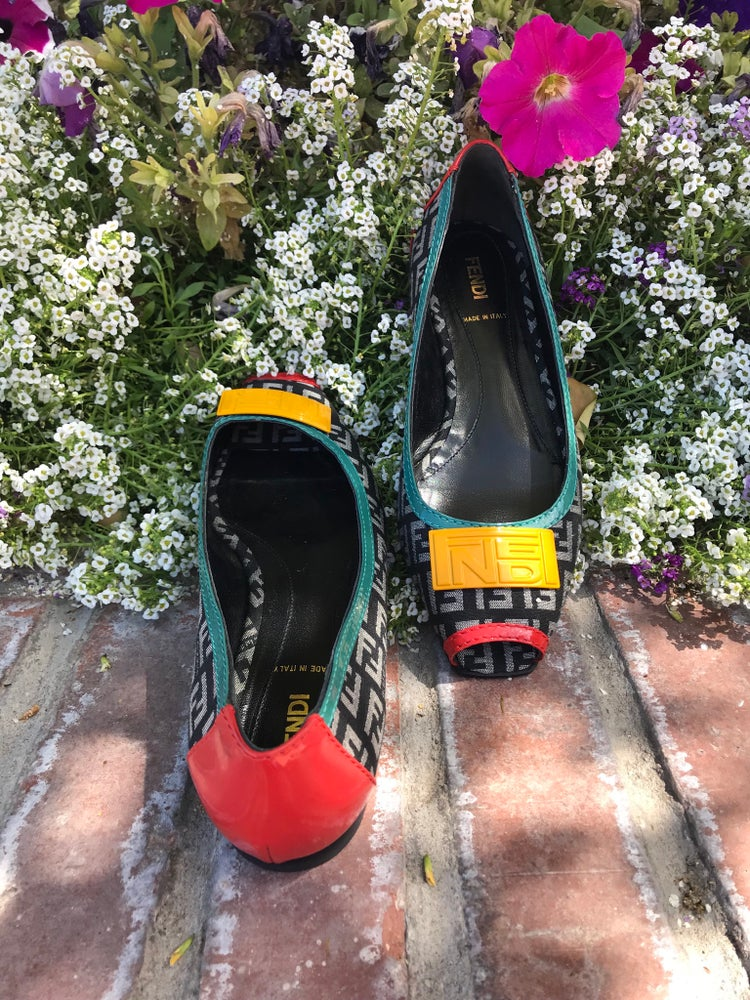 Image of FENDI LOGO PEEP TOE FLATS