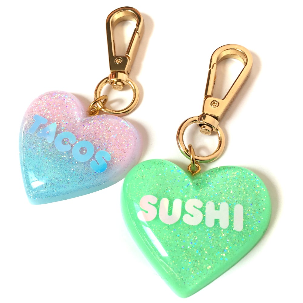 Image of I Love Sushi Sparkle Heart Bag Charm