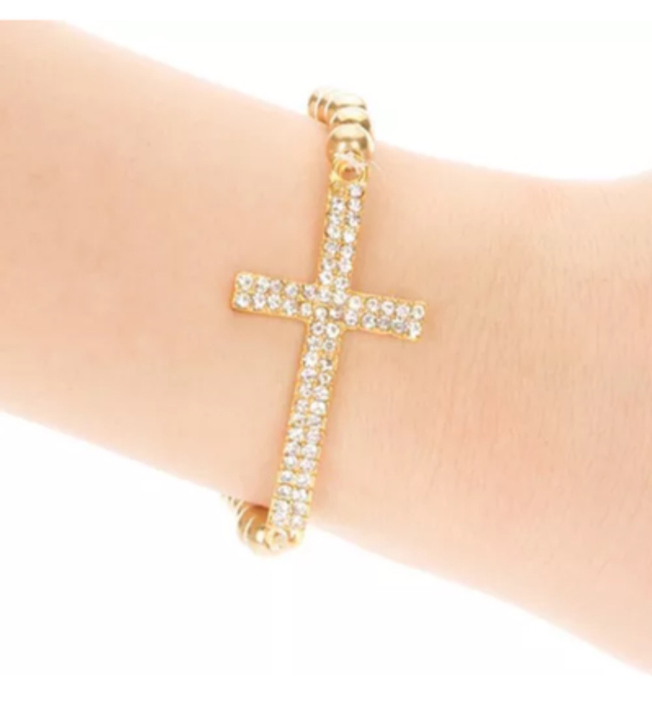 Image of CROSS BRACELET • SILVER OR GOLD