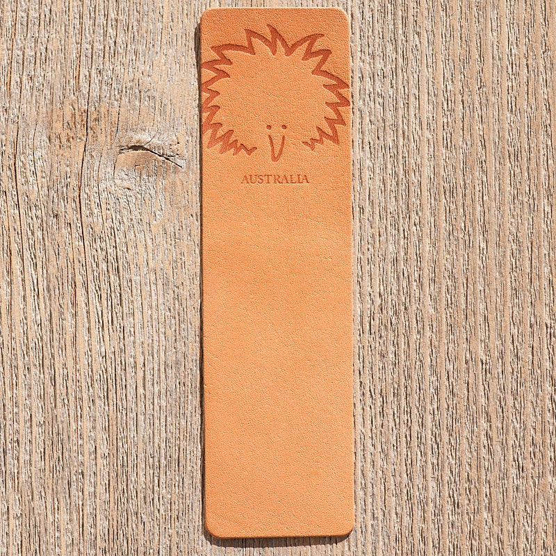 Image of Handmade Kangaroo leather bookmark - Echidna, Australia
