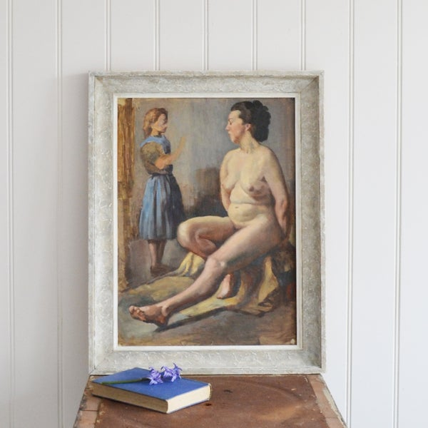 Image of WAS £395.00 Early 20th Century oil Painting, Studio Nude