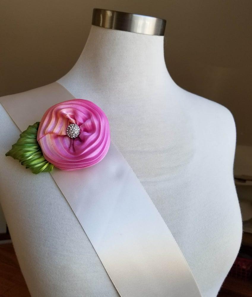 Image of Pink & Orange Sherbet Floral Brooch