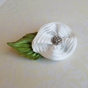 Image of White Lily Floral Brooch