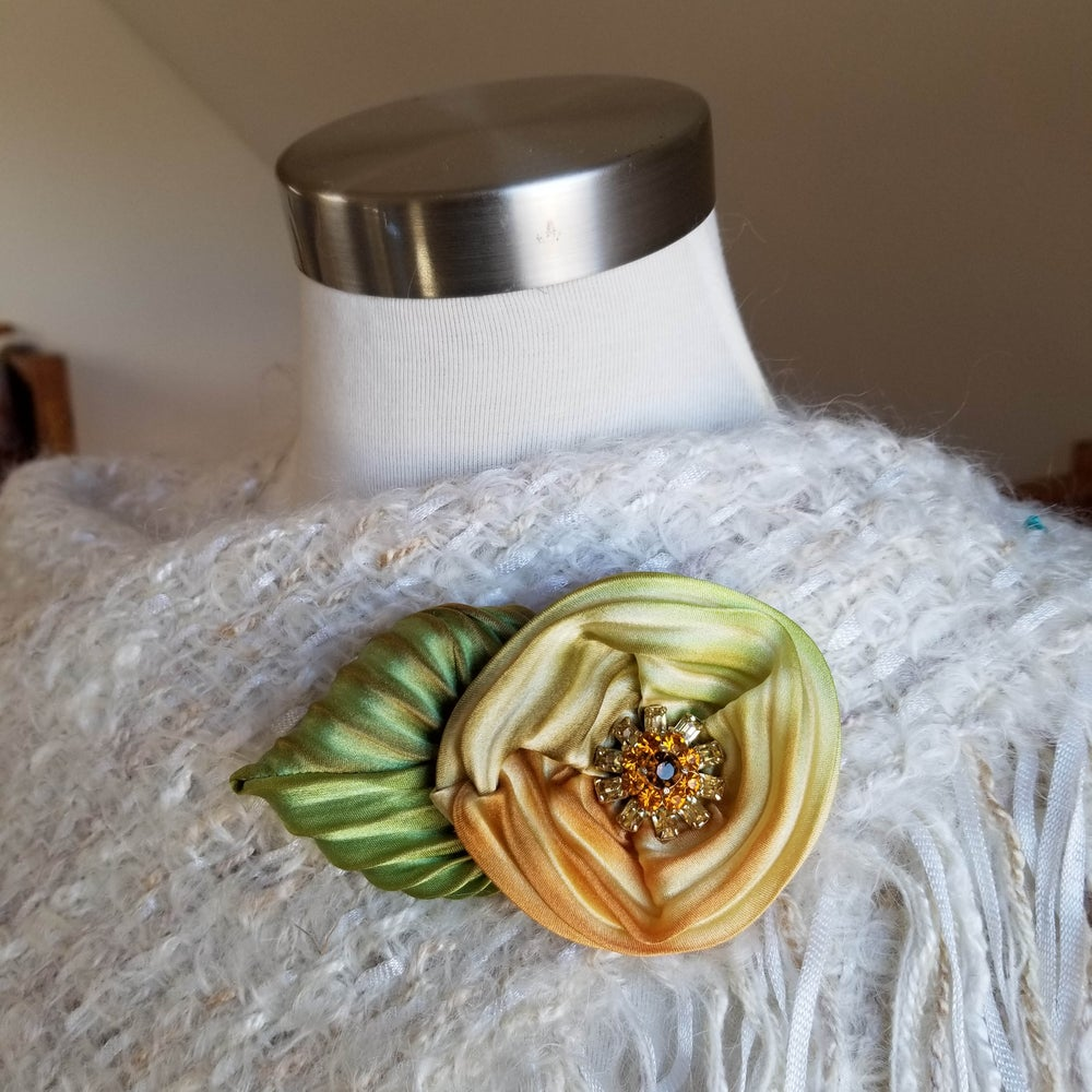 Image of Earthy Yellow Rose Floral Brooch