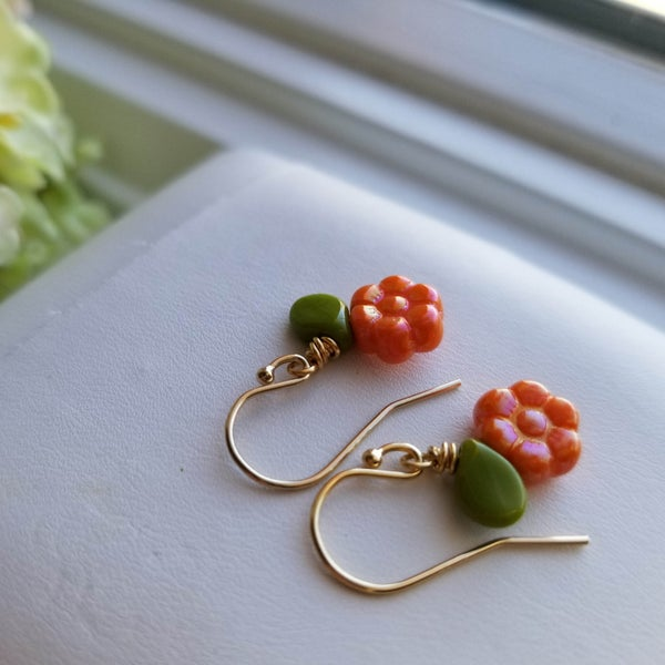 Image of Tiny Tangerine Flowers (Silver + Gold)