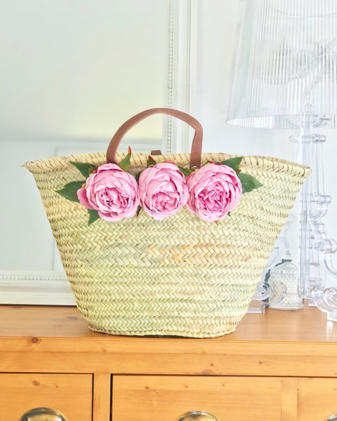 Image of Panier bubble gum peonies