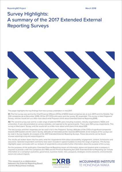 Image of Survey Highlights: A summary of the 2017 Extended External Reporting Surveys