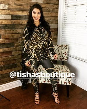 """Image of The """"Donna"""" Two Piece Print Set with Tie Crop and Matching Leggings"""