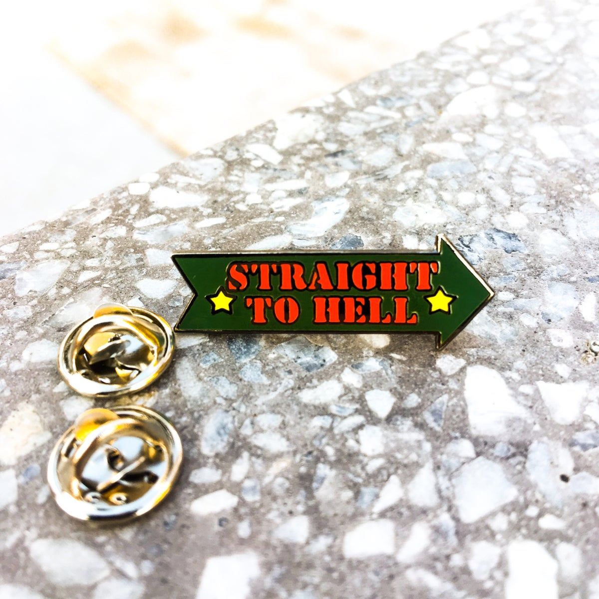 Image of Straight to Hell Enamel Pin
