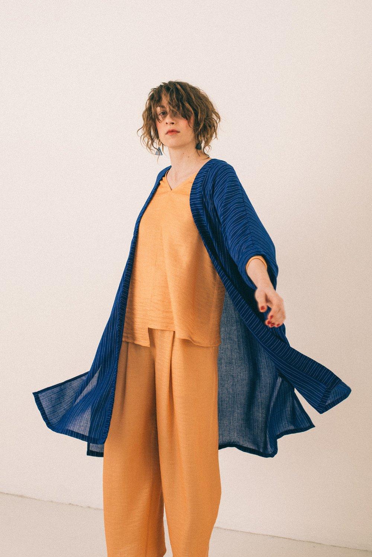 Image of Kimono royal blue striped