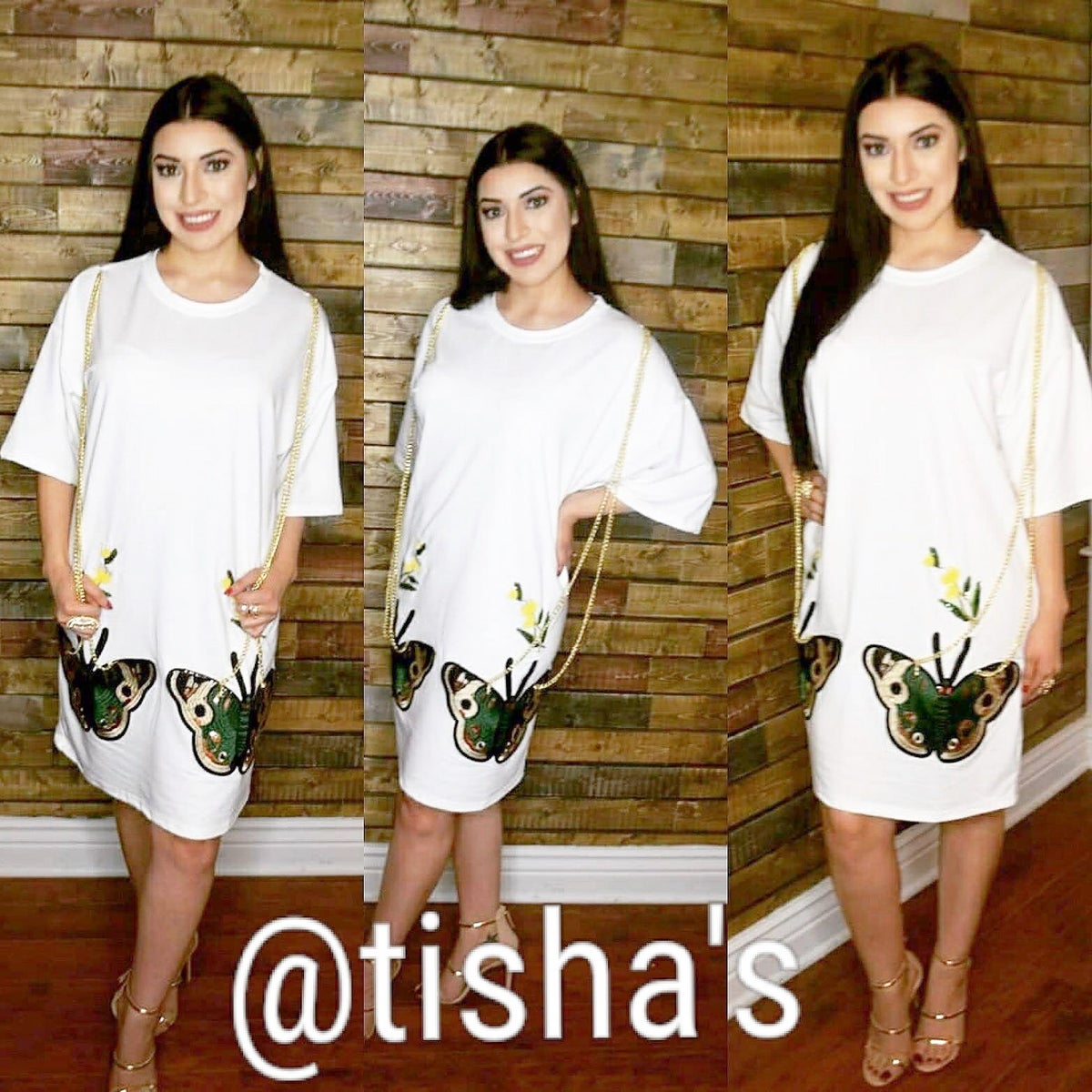 Image of Butterfly Shirt Dress with Chains