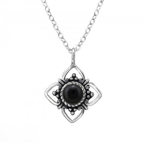 Image of Sterling Silver & Black Onyx Fleur Necklace