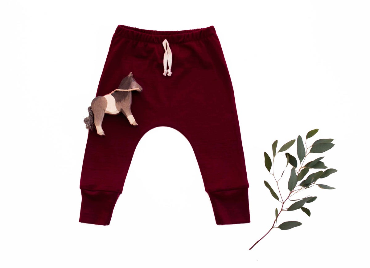 Image of 'Basic range' merino pants wine