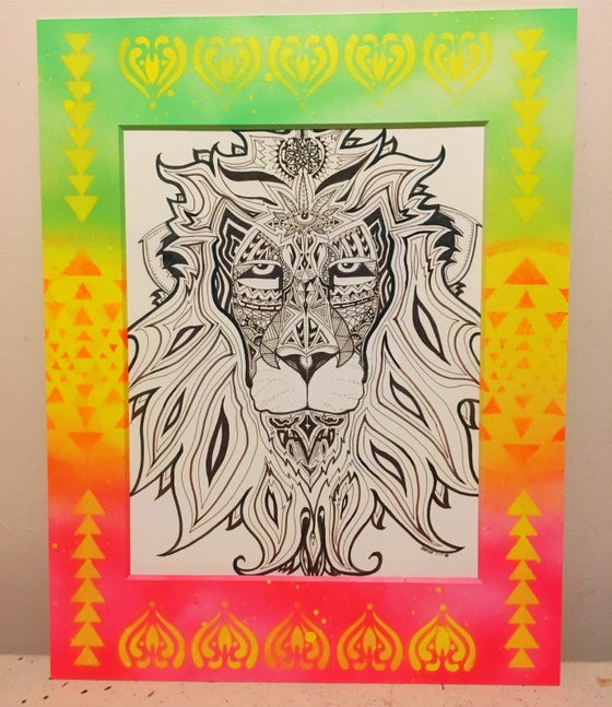 Image of Elevated Lion with custom matte frame