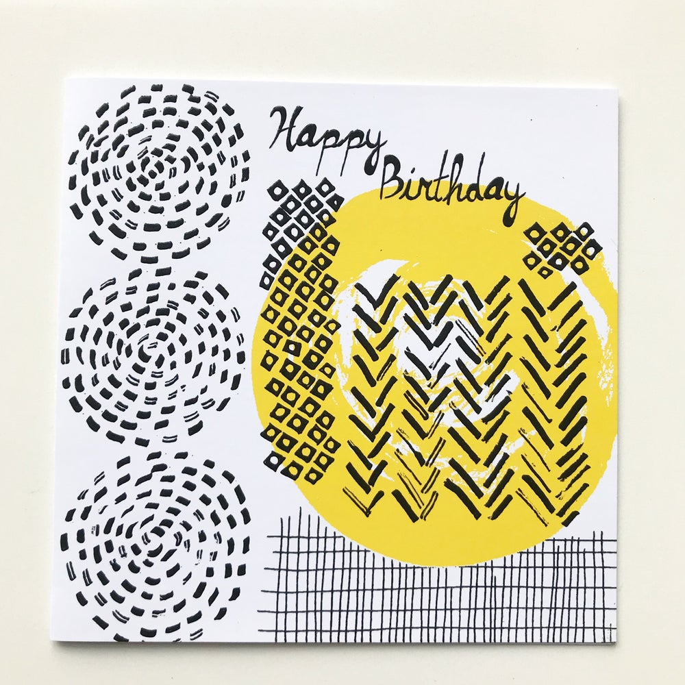 Image of Happy Birthday retro modern card