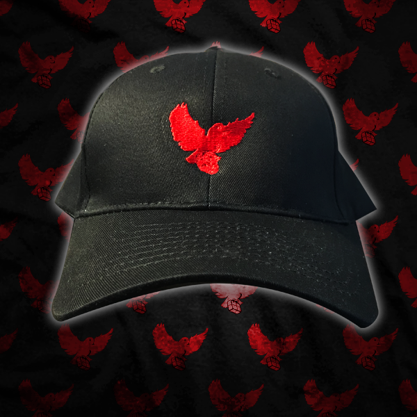 7504fd44b1 Black Red Dad Hat   Birdies Clothing Co.