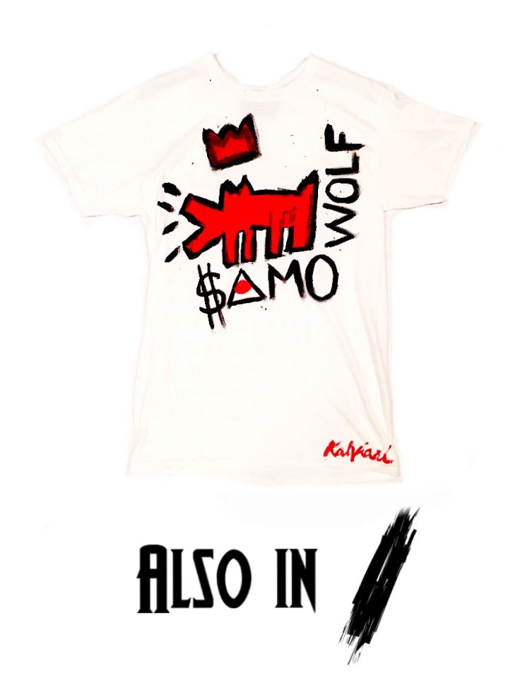 Image of KALVIARI SAMO KRY WOLF HANDPAINTED TSHIRT (2 COLORWAYS)
