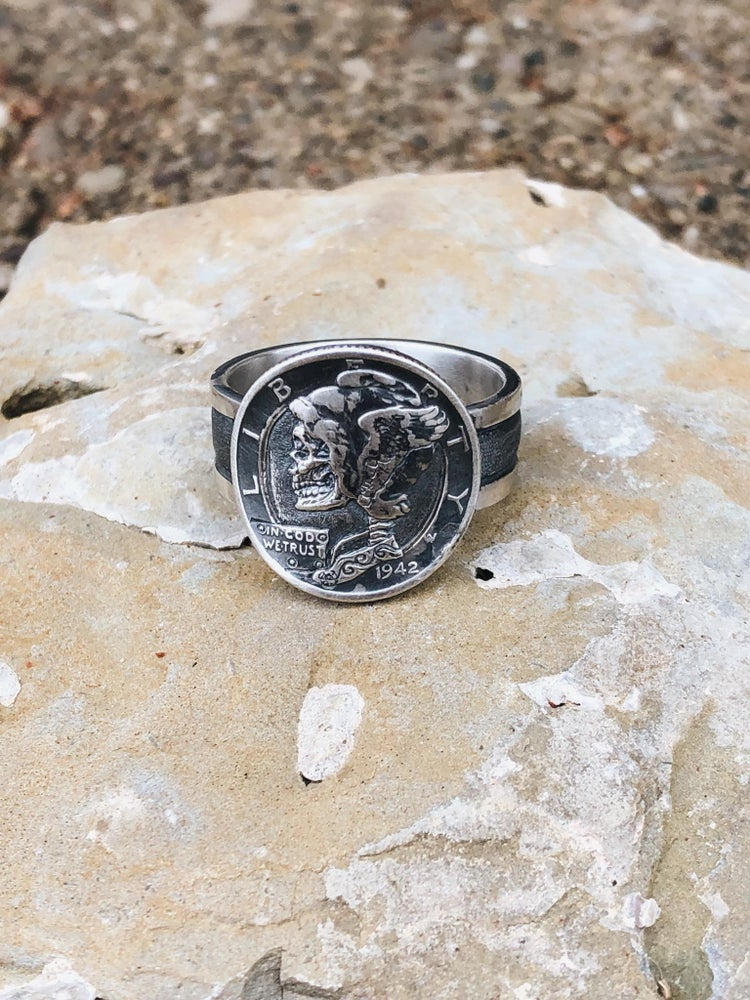 Image of Gents Handmade sterling silver engraved Mercury dime coin ring