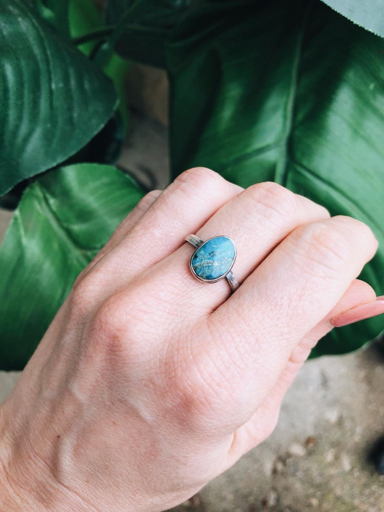 Image of Handmade Sterling Silver Turquoise Ring, Size 6.75