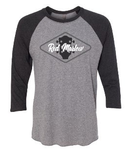 "Image of RED MARLOW ""GUITAR"" RAGLAN TEE - Black & Grey"