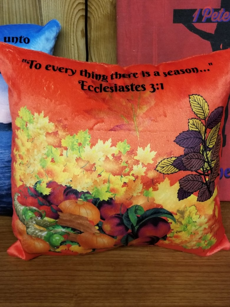 """Image of Soft Minky 2-sided Harvest Scripture Pillow 12"""" x 12"""""""