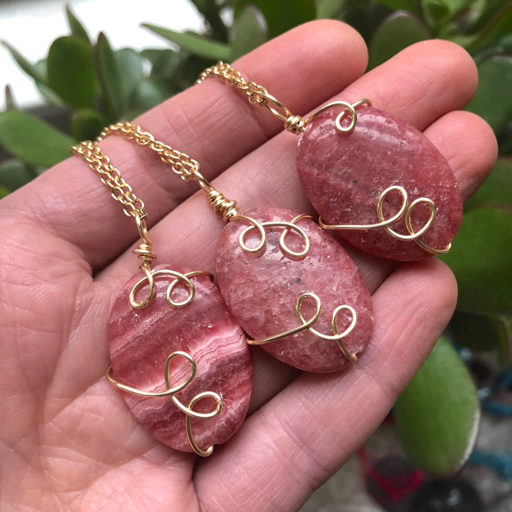 "Image of ""Heart Healers"" Rhodochrosite Sweetly Swirled Gold Necklace"