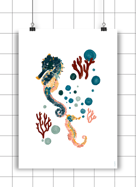 Image of SEAHORSES CORAL & BUBBLES