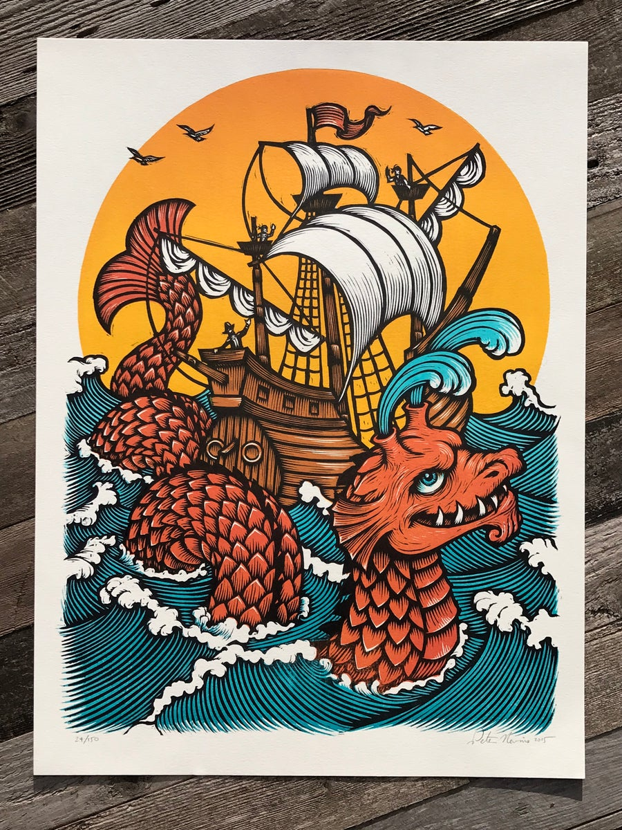 Image of Sea Serpent and Ship