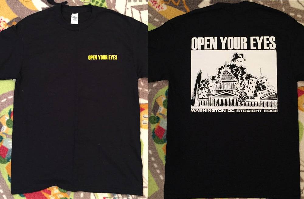 Image of OPEN YOUR EYES Black short sleeve shirt