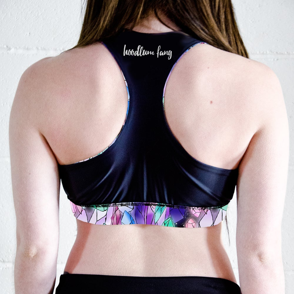 Image of Crystals Racer Back Sports Crop Top