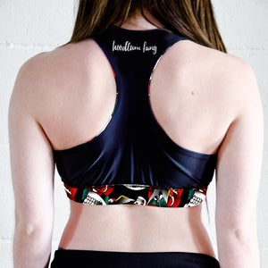 Image of Skulls & Roses Tattoo Reversible Sports Crop Top
