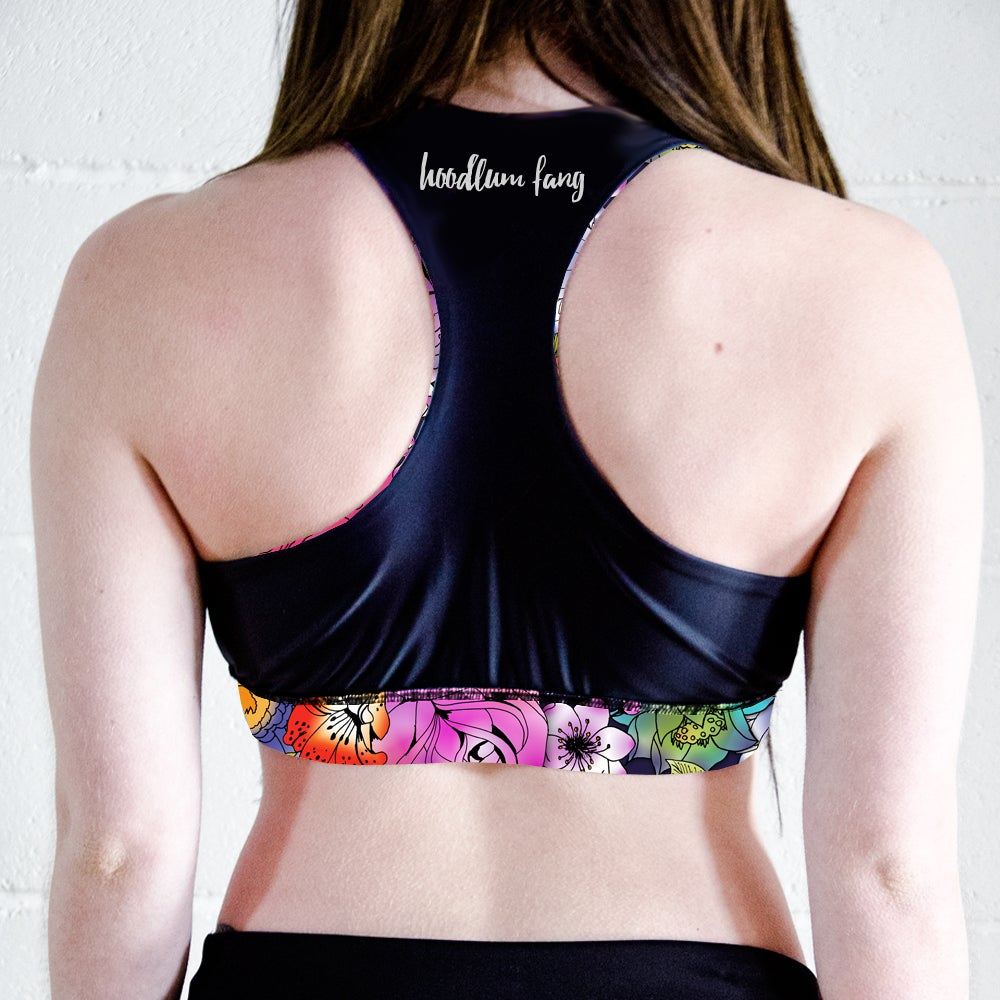 Image of Tattoo Floral Racer Back Sports Crop Top