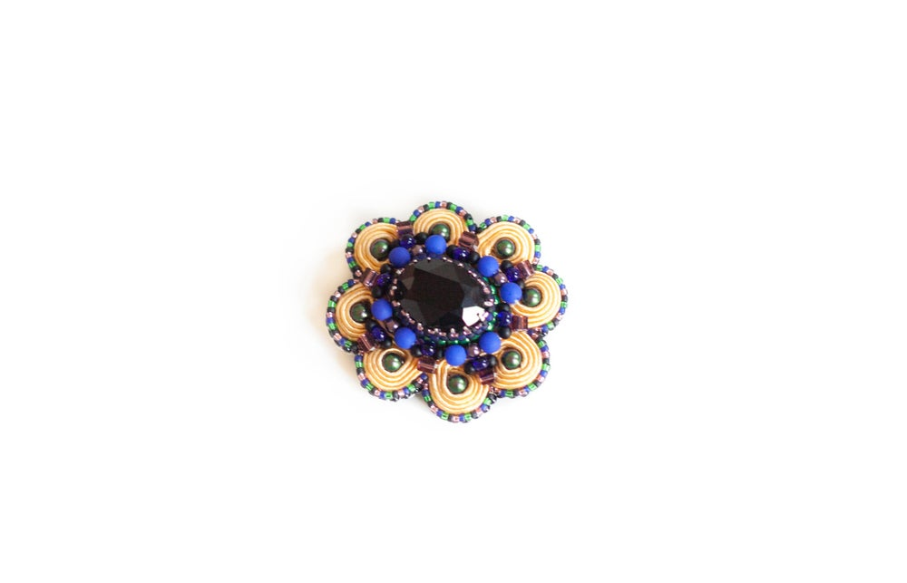 Image of Bluebird - Scintillante broche brodée