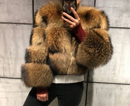 Image of Sylvie Cropped Fur Bomber