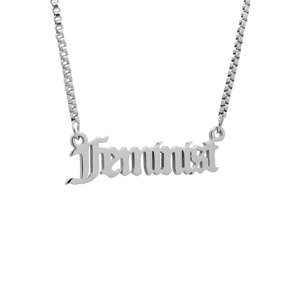 Image of 'Feminist' Script Necklace