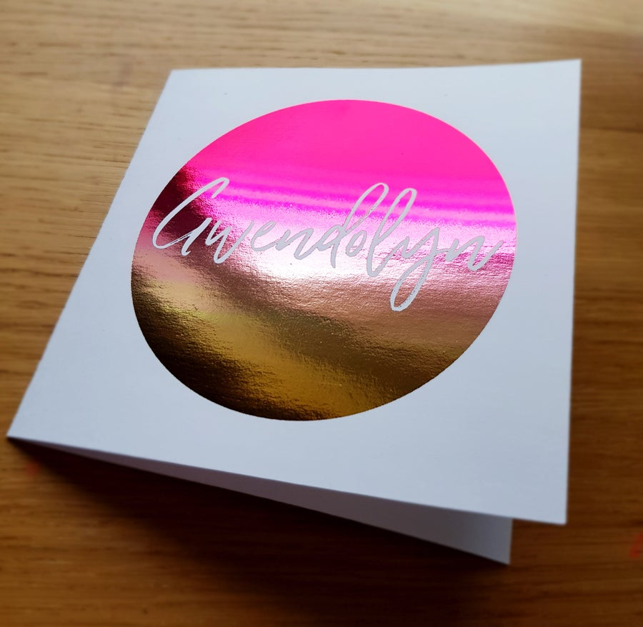 Image of Foil Name Card - White Card (Font 2)