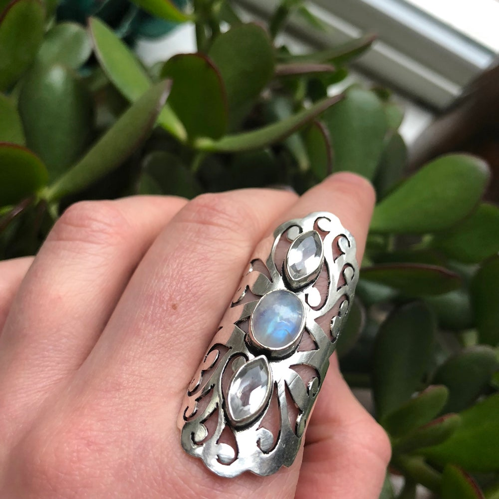 Image of Rainbow Moonstone & Topaz Sterling Silver Statement Ring
