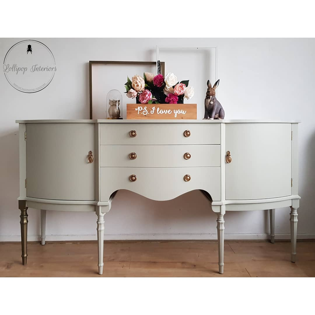 Image of Pale grey green sideboard